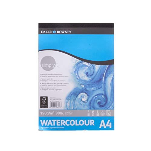 Bloc Encolado ideal para Acuarela DALER ROWNEY Simply, de Formato 21 x 29,7 cm, con 12 Hojas de Papel de 190 g/m2 de Grano Fino