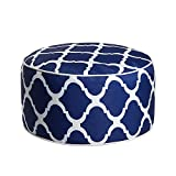 Art Leon Outdoor Inflatable Ottoman Dark Blue Round Patio Footstool for Kids and Adults, Patio, Deck, Front Porch, Backyard, Garden