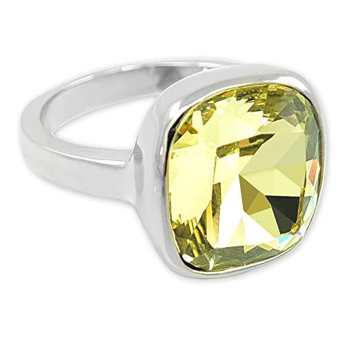 nobel-schmuck Damen-Ring Silber Gelb mit Kristall von Swarovski