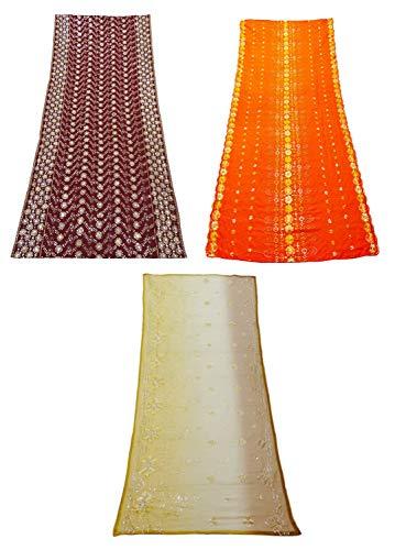 PEEGLI Paquete De Ropa De Mujer De 3 Piezas De Tela Mixta Tradicional Dupatta Indio Vintage Multicolor Tejido Artesanal Patrón De Mezcla Chunni