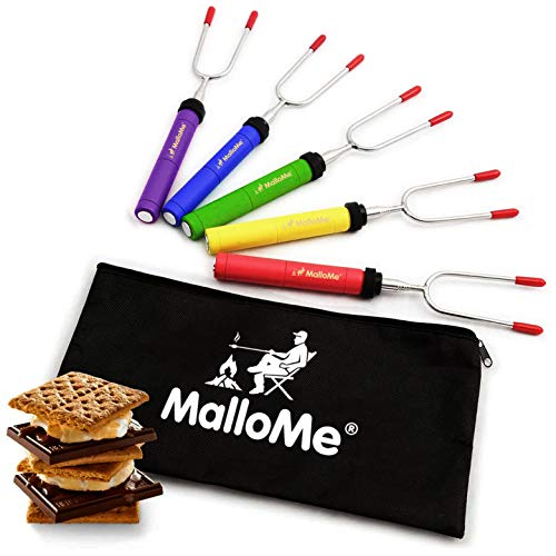 MalloMe Premium Marshmallow Roasting Sticks Set of 5 Smores Skewers & Hot Dog Fork 34 Inch Rotating...