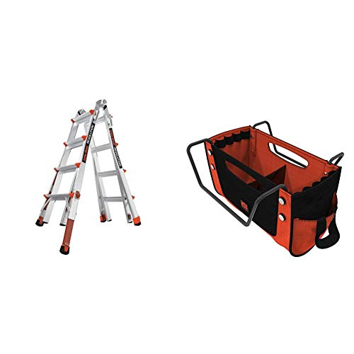 Little Giant Ladders, Revolution with Ratchet Levelers, M17, 17 ft, Multi-Position Ladder,Ratchet Leg levelers, Aluminum + Cargo Hold, Ladder Accessory, Fabric, (15040-001)