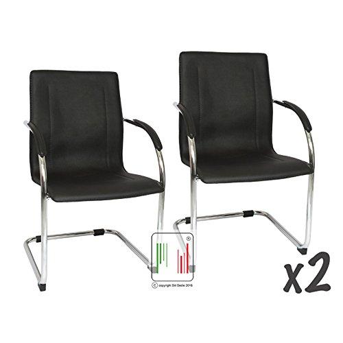Stil Sedie Set 2 poltrona attesa con braccioli Milano, sedia per sale conferenza, sedia per gli ospiti con seduta ampia nera