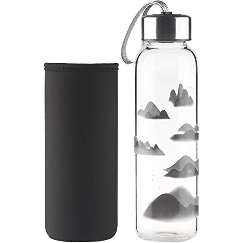 SHBRIFA Botella de Agua de Vidrio de Borosilicato 500ml / 1000ml, Botella de Agua de Cristal con Funda de Neopreno y Tapa de Acero Inoxidable a Prueba de Fugas