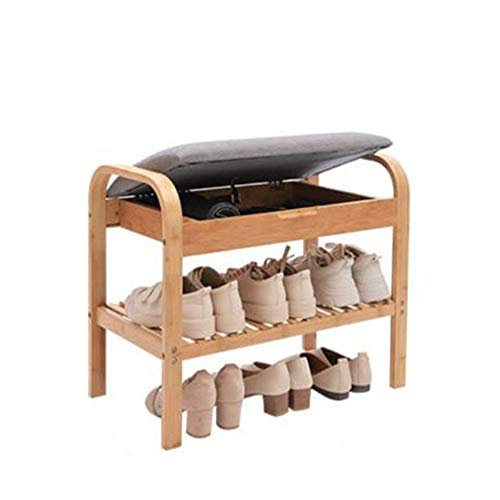HSTD Home Shoe Bench, 2 Tiers Bamboo Shoe Rack With Storage Space and Seat Cushion, Shoes Organizer for Living Room,Hallway Cloakroom and Entryway, 60x 33 X 50 Cm Can be stored