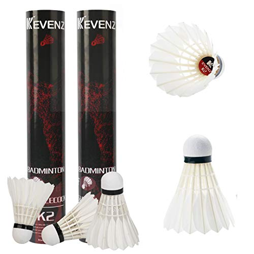 KEVENZ Badminton Birdie, 24 Pack Goose Feather Badminton Birdies with Great Stability and Durability, High Speed Badminton Shuttlecocks for Training and Competition
