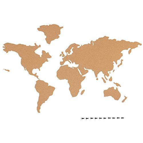 Navaris Mapa de Corcho Pared - Mapamundi autoadhesivo para fotos banderas carteles - Con 10x Chincheta para marcar lugares visitados - 102 x 50.3 CM