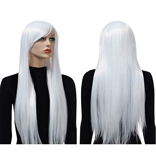 "Wigood 32"" Cosplay White Wig Long Straight Wig Halloween Costumes with Bangs Anime Costume Party Wigs with Free Wig Cap for Women(White)"