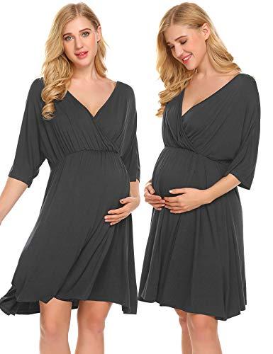 Ekouaer Breastfeeding Dress Short Sleeve Maternity Nursing Sleepwear Dark Grey M