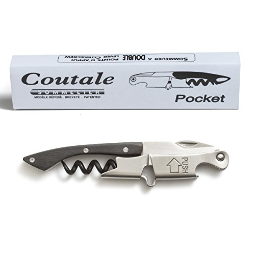 Pocket Prestige Waiters Corkscrew By Coutale Sommelier  Blackwood  French Patented SpringLoaded Double Lever Wine Bottle Opener for Bartenders and Gifts  Sharp MicroSerrated Knife