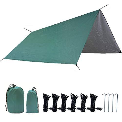 Toldo ligero para toldo de 3 a 4 personas, para acampar al aire libre, senderismo, picnic, pesca, color verde y cuadrado