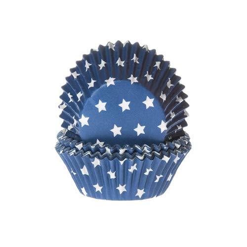 House of Marie 50 Muffinförmchen, dunkelblau mit Sternen
