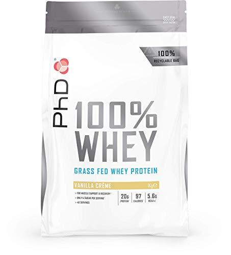 PhD Nutrition 100% Whey, Proteína de Suero Animal de Pastura Ecológica 1 kg, Sabor Crema de Vainilla