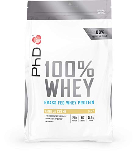 PhD Nutrition 100% Whey, Grass fed whey protein, Vanilla Crème, 1 kg
