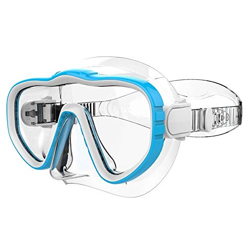 Kraken Aquatics Snorkel Dive Mask with Silicone Skirt and Strap for Scuba Diving, Snorkeling and Freediving   Blue