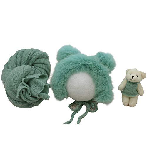 Conjunto de Accesorios de Fotografía para Recién Nacidos Trajes de Fotos para Bebés Sombrero Esponjoso Muñeca de Oso para Bebés Niños Niñas
