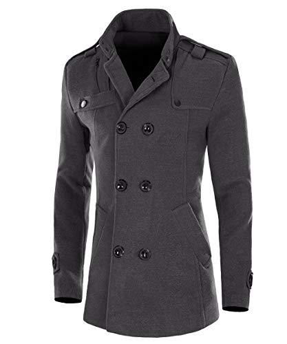 AOWOFS Cappotto da uomo slim fit invernale in lana con colletto alto a due file, cappotto corto per business tempo libero grigio. S
