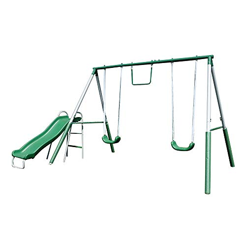 Sportspower My First Metal Swing Set with Slide, Green/White