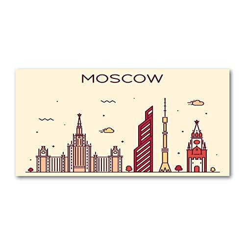 Tulup Glas-Bild Wandbild aus Glas - Wandkunst - Wandbild hinter gehärtetem Sicherheitsglas - Dekorative Wand für Küche und Wohnzimmer 120x60 - Landkarten und Flaggen - Moskauer Gebäude - Mehrfarbig