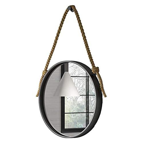 Espejo Colgante de Cuerda de cáñamo Vintage Espejo Circular para decoración de Pared Espejo único para Tienda de Ropa Espejo Decorativo, Maquillaje de baño Afeitado (40 cm, 50 cm, 60 cm, 70 cm)