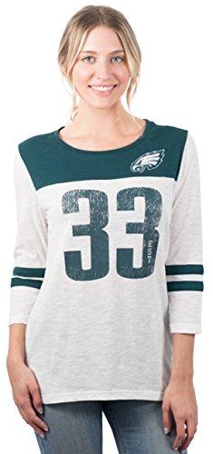 Ultra Game NFL Philadelphia Eagles Womens T-Shirt Vintage 3/4 Long Sleeve Tee Shirt, White, Small