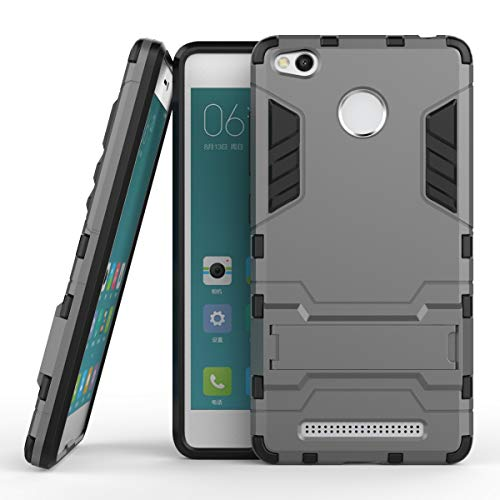 Yhuisen 2 in 1 Iron Armor Tough Style Hybrid Dual Layer Armor Defender PC + TPU beschermende harde behuizing met standaard [Shockproof Case] ​​voor Xiaomi redmi 3S / redmi 3 Pro (Color : Gray)