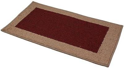 JVL Madras Machine Washable Latex Backed Red/Beige 57 x 180cm Door mat