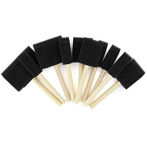 Vanitek 10 Piece Flat Flexible Poly Foam Bevel-Tipped Brush Set with Wooden Handles - Ideal for Applying Paint, Oil-Based Paints, Stain, Varnish, Enamel, Latex Paint, Smooth Surfaces, Arts & Crafts