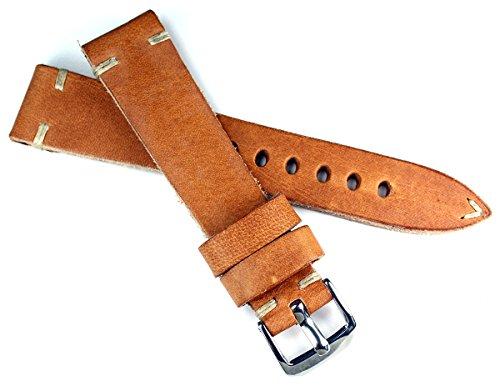 RIOS 1931 20 mm Vintage Leder Deutsch Fliegerband Retro Look Pilot hell braun 20/16mm