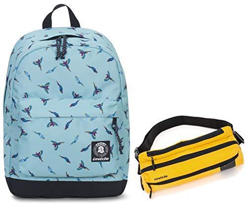 Zaino INVICTA + Marsupio - CARLSON - Waterfall Parrots fantasia azzurra - tasca porta pc padded - americano 27 LT