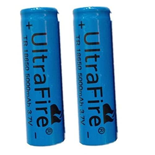 18650 Li-ION Rechargeable Batterie 3.7V 5000mAh Batteries au Lithium universelles de Grande capacité Accessoires sûrs pour Lampe de Poche LED, appareils électroniques. 1/2/4/8 pièces (bleu) (4 pcs)