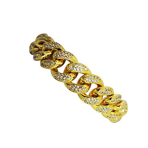 LUOEM Elegante Pulsera para Hombre Hip Hop Joyas Diamantes de imitación de Cristal Diamantes Cubano Chapado en Oro Cadena de Enlace Collar de 20 cm