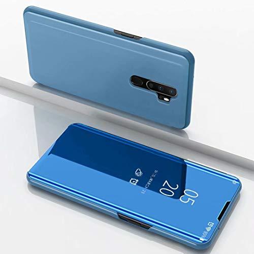 TiHen Spiegel Schutzhülle für Oppo F1 Hülle, Smart-Fenstertasche Überzug Spiegel Flip Cover +Panzerglas Schutzfolie 2 Stück,Handyhülle Lederhülle Etui mit Standfunktion -Blau