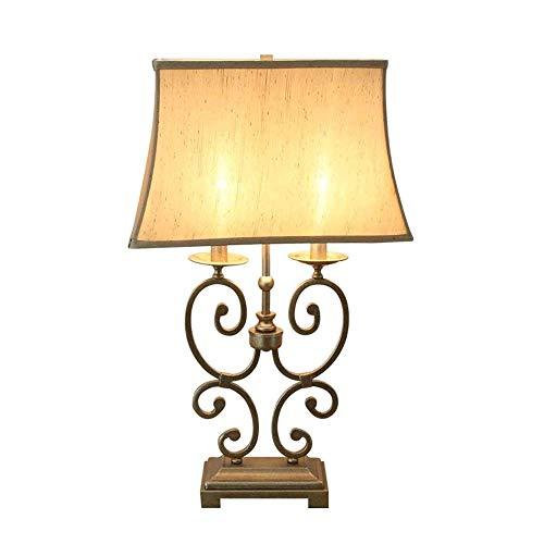 HTL Lámpara de Lectura Iluminación Decorativa Lámparas de Mesa Tradicional Juego de Sombra Desplazamiento de Hierro Afilado Crema de Tambor para el Dormitorio de la Sala de la Familia