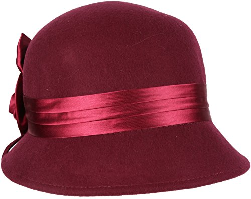 EH1121LC - Womens Vintage Style 100% Wolle Cloche Eimer Winter Hut mit Satin Blume Akzent (6 Farben) - Burgund/One Size