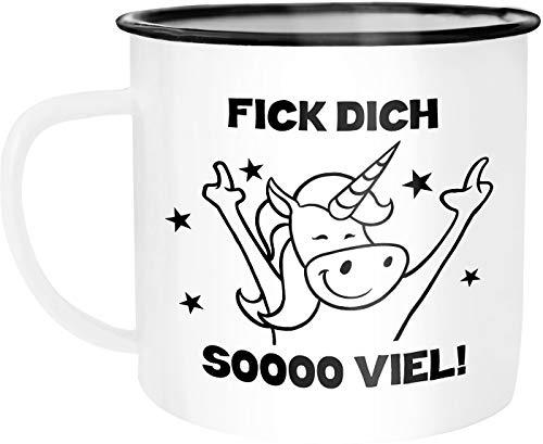 Moonworks Emaille Tasse Becher Böses Einhorn Fick dich so viel Spruch Kaffeetasse Bürotasse Kaffeetasse weiß-schwarz unisize