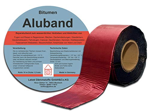 Bitumen Aluband Reparaturband Dichtband Farbe Rot 100 mm - Rolle 10 Meter. Made in Deutschland.