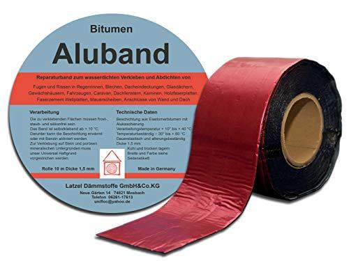 Bitumen Aluband Reparaturband Dichtband Farbe Rot 100 mm - Rolle 10 Meter. Hergestellt in Deutschland.