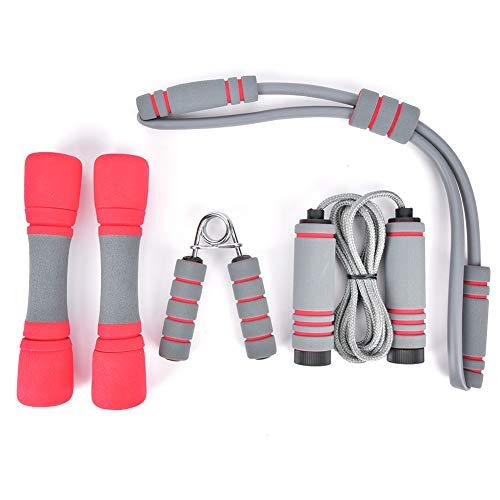 Alomejor El Kit de Fitness 4 en 1 Incluye mancuerna de expansión de Pecho de Jumprope de Desarrollo de músculos de Mano para Ejercicio
