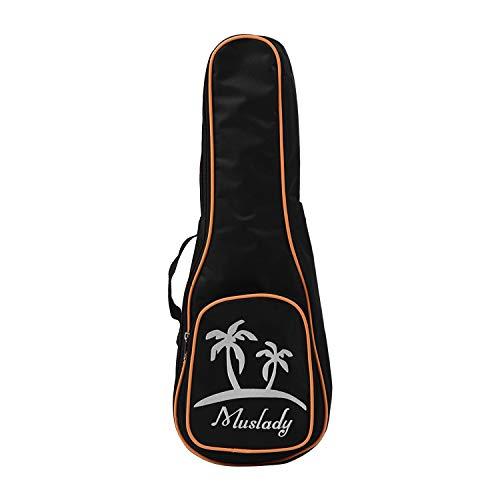 Muslady 26 inch tenor ukelele-tas Uke Ukelele Zippered Case 5mm bekleding kokosnoot patroon stijl met verstelbare schouderriem kant draaggreep zwart 23 inch.