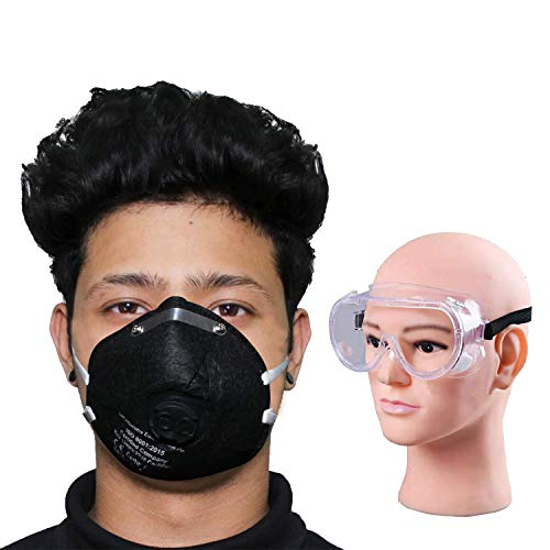 Thump Combo of 1 Piece Goggle O2 OR6LM02 6 Layer Face Mask with Filter Valve Nose Mouth Respirator for Men & Women (Black, 2 PCS)