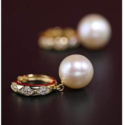 SMEJS Pendientes de moda Pendientes de perlas de agua dulce brillantes Pendientes S925 Joyería fina de plata 11-12 mm Pendientes de joyería para mujer-Pendiente blanco/rosa púrpura