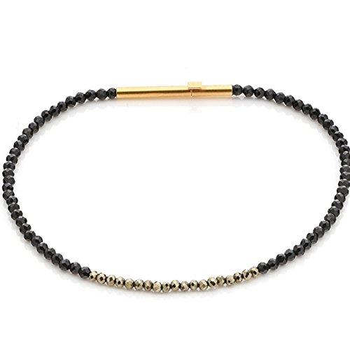 Spinell Armband hochwertige Goldschmiedearbeit aus Deutschland mit schwarzen Spinellen und Pyrit - mit Sicherheitsverschluss - Edelsteinarmband mit Expertise - Damen Armband