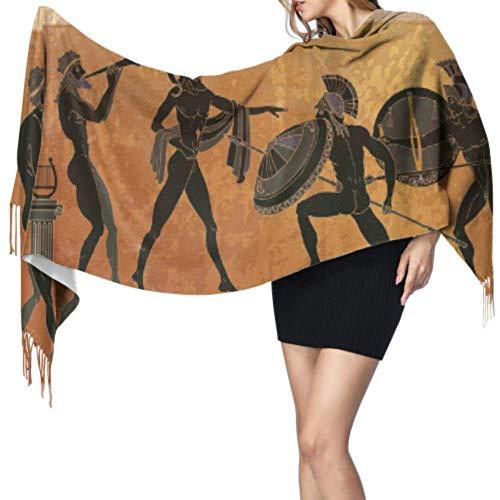 Bla Pottery Altgriechische Mythologie Langer Schal mit Fransen Leichter Schal Damenschal Leichter Weicher Extra Warm