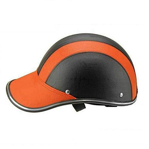 DASNTERED Fahrrad Halbhelm Baseball Cap, Fahrrad Sicherheit Hochfester Helm Halbe Abdeckung Motorrad Reithelm für Erwachsene Männer Frauen Jugendliche(Orange)