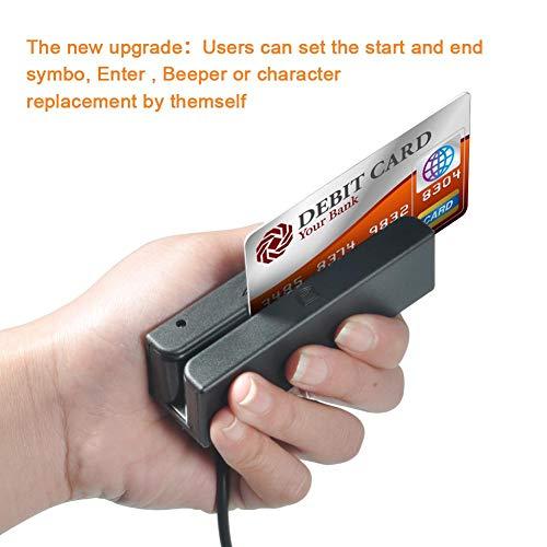 Lettore di Carte di Credito USB Portatile MSR90, Mini Tracce, Lettore di schede magnetiche a Scorrimento