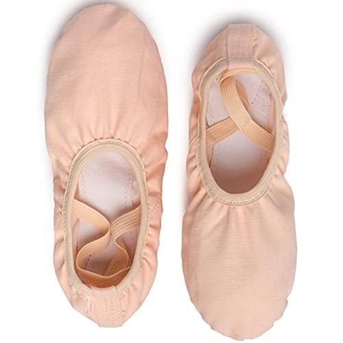AGYE Zapatillas De Ballet Niña, Zapatos de Ballet,Zapatillas de Ballet de Lona para Niñas, Zapatillas Planas, Zapatos de Baile con Suelas de Cuero para Niños Pequeños y Adultos,Pink-37