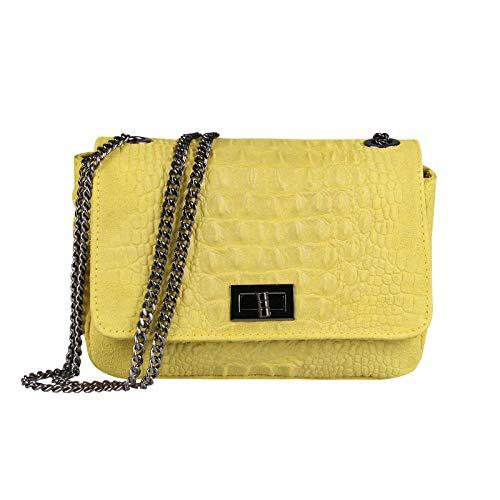 Made in Italy Damen Leder Tasche Kroko-Prägung Kette Henkeltasche Clutch Wildleder Handtasche Umhängetasche Ledertasche Schultertasche Gelb