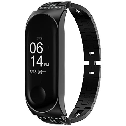 GhrKwiew Metall Armband für Xiaomi 4 Smartwatch, Bling X-Link Band Ersatz Strass Edelstahl Metallarmband Schnelle Veröffentlichung Armband mit Uhrenrahmen für Xiaomi Mi Band 3 / Mi Band 4 (Schwarz)