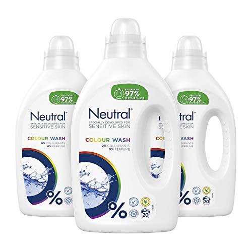 Neutral Kleur Wasmiddel Parfumvrij 3 x 20 wasbeurten - 3 x 1 L Voordeelverpakking